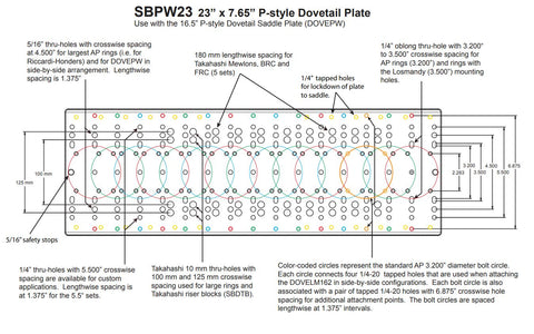 "Astro-Physics 23"" P-Style Dovetail Plate-Drawing 1"