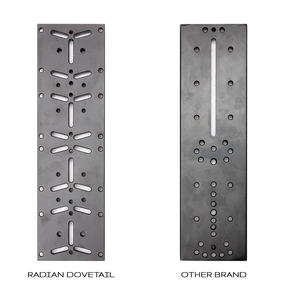 Radian Telescopes 14-Inch Universal D-Style Dovetail Bar Hole and Slot Pattern Comparison