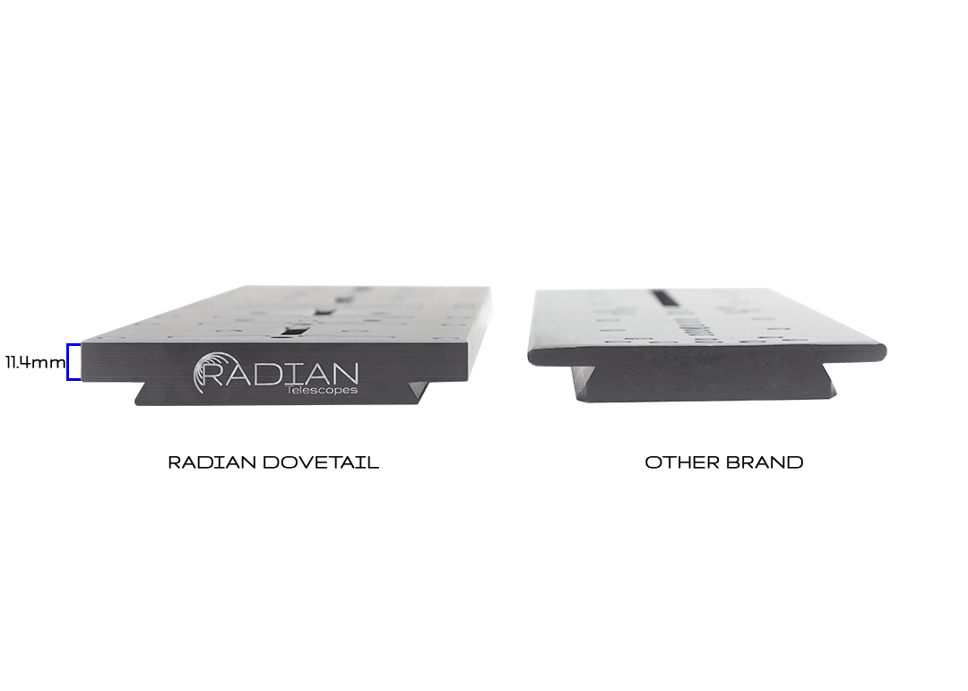 Radian Telescopes 14-Inch Universal D-Style Dovetail Bar Thickness Comparision
