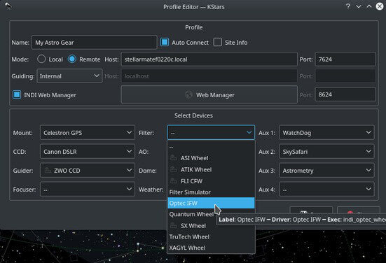 Wi-Fi Astrophotograph System Controller Equipment Profiles Screenshot