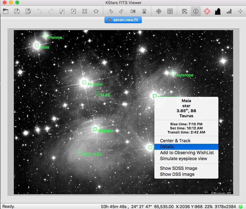 Wi-Fi Astrophotograph System Controller Equipment FITS Viewer Screenshot