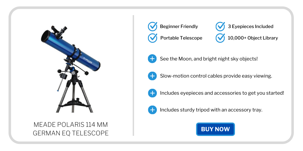 best beginner telescope under 300 - meade polaris 114