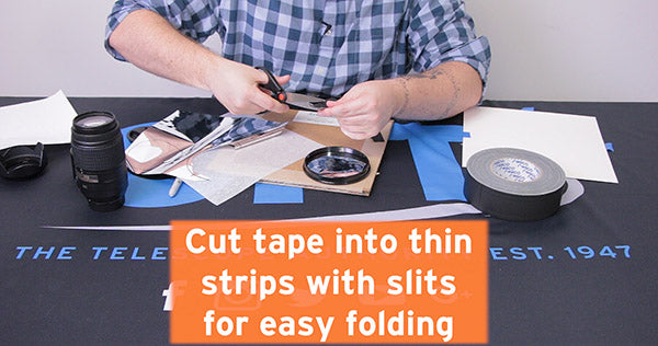 cut tape into thin strips with slits for easy folding