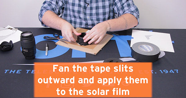 fan tape edges outward and apply them to solar film