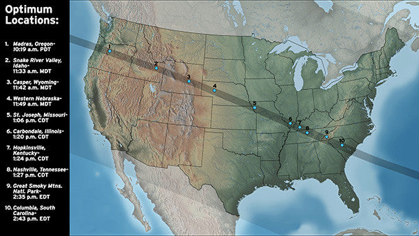 great american solar eclipse-optimum locations-usa map