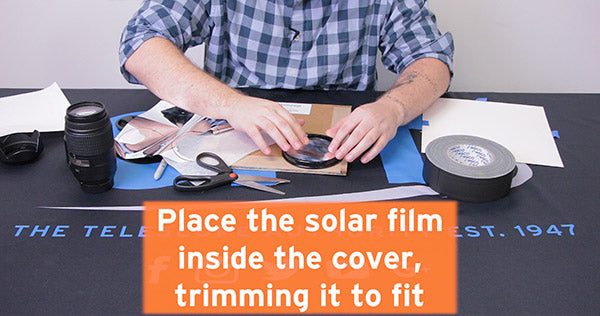 place solar film inside cover trimming it to fit