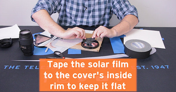 tape solar film to cover's inside rim to keep it flat