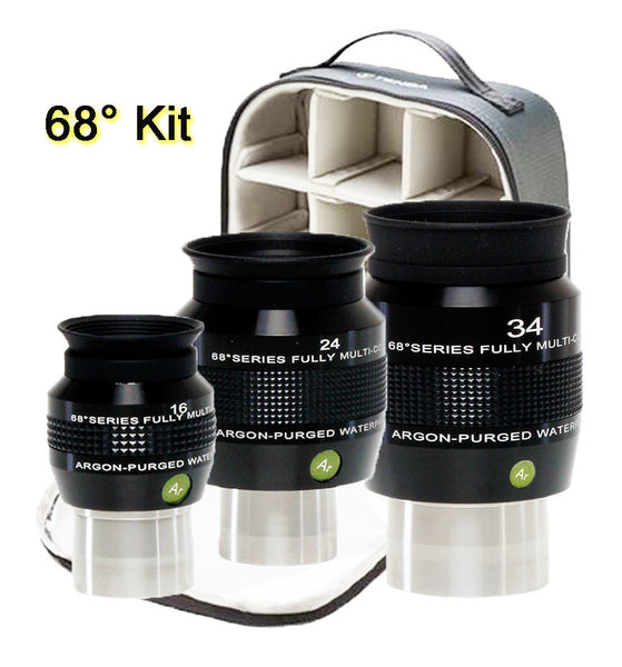 "Explore Scientific 16, 24, 34mm 68 Degree 1.25/2"" Eyepiece Kit-AP/WP with Case"