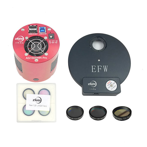 "ZWO ASI1600MM Pro Monochrome Camera- 1.25"" Narrowband Imaging Filter Bundle"