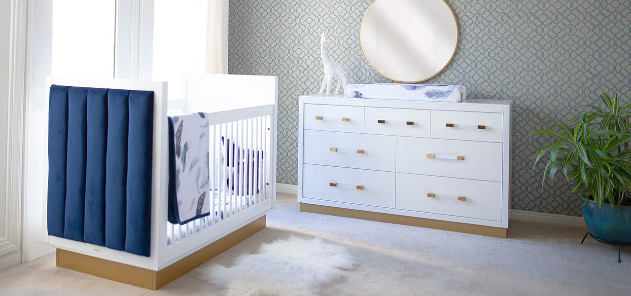Blue and White Modern Glam Nursery