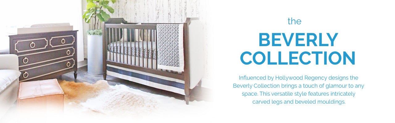 Beverly Collection. Hollywood Regency crib, changing table and more. Made in USA.