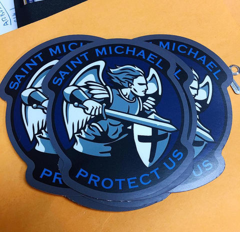 """Saint Michael Protect Us"" Sticker"