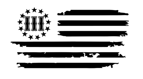 Three Percent Distressed Flag Decal