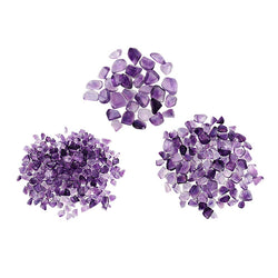 Amethyst Assorted Sizes of Tumbled Stones grouped in three size ranges: small (2-3 mm), medium (4 - 6 mm), and large (8 - 12 mm).