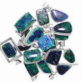 Mined in Arizona, these Azurite Malachite Pendants are set in .925 Sterling Silver - Wholesale.