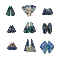 Azurite-Malachite Assorted Cabochons Pairs - Wholesale