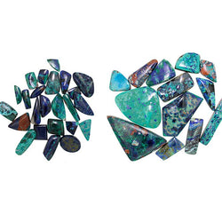 Azurite-Malachite Cabochons in Freeform and Assorted Shapes - Wholesale.