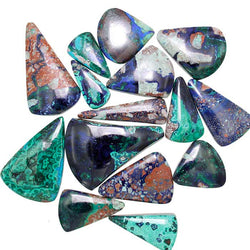 Azurite-Malachite Assorted Triangle Shaped Cabochons - Wholesale