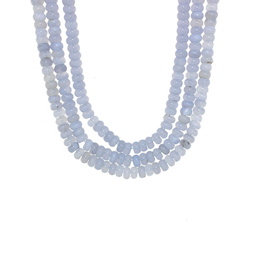 16-inch Strands Blue Chalcedony with 7mm Rondelle Beads