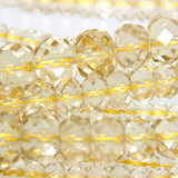 16-inch Strands of Champagne Quartz Crystal in Graduated 4.5 - 12.5mm Faceted Rondelle Beads