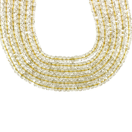16-inch Strands of Champagne Quartz Crystal in 6.5mm Faceted Rondelle Beads