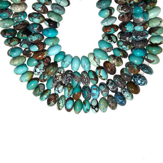 16-inch Strands of Chinese Turquoise 8mm Rondelle Beads