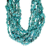 16-inch Strands of Chinese Turquoise Tumbled Beads - chip style beads graduated 7+ - 10+ mm.