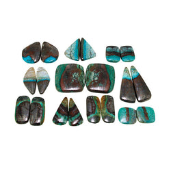Copper Chrysocolla Assorted Cabochons Pairs