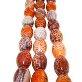 Chinese Orange Cracked Agate Barrel Bead Strands
