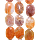 Chinese Orange Cracked Agate Flat Oval Bead Strands