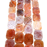 Chinese Orange Cracked Agate Rectangle Bead Strands