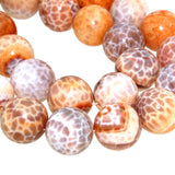 Chinese Orange Cracked Agate Round Bead Strands