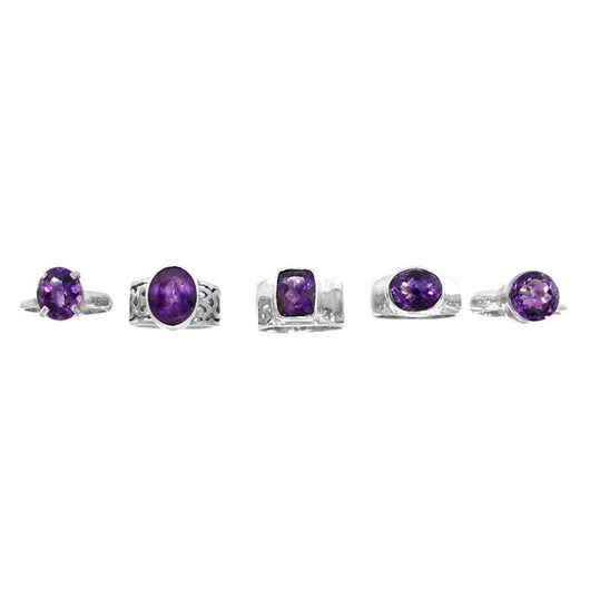 Faceted Amethyst Sterling Silver Rings - Wholesale. Available in women sizes 5 - 9.