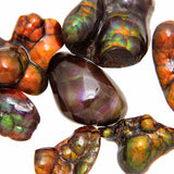 Close Up View of Fire Agate Free-form Cabochons - Wholesale.