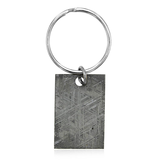 1.5-inch x 1.0-inch slice of Gibeon Meteorite on a 1.25 inch metal key ring.