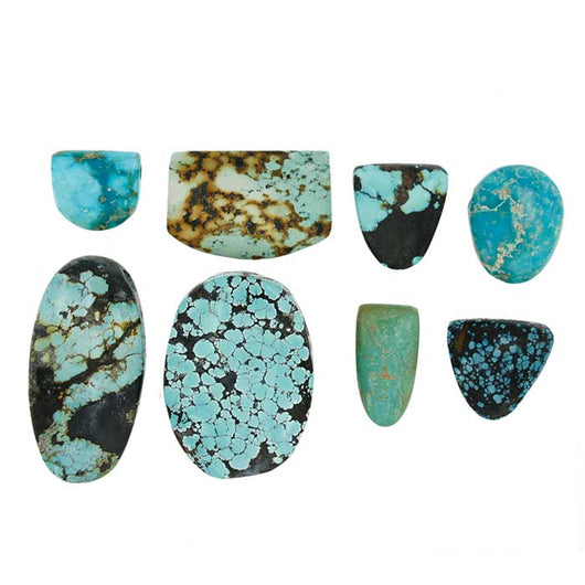 Hubei Turquoise Slide Pendants in Assorted Sizes - cut, polished, drilled and ready for any silk or leather cord. Wholesale.