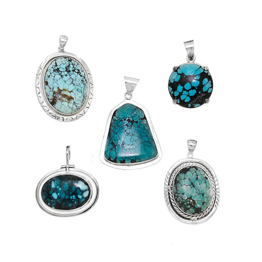 Hubei Turquoise Sterling Silver Pendants - Wholesale.