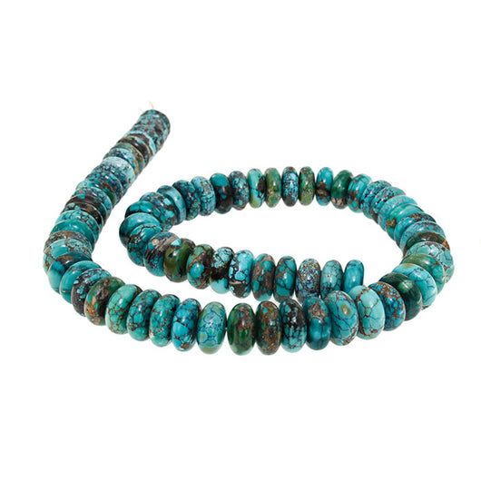 18-inch Strand of Hubei Turquoise in 14mm Rondelle Beads