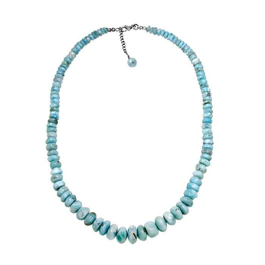 16-inch Larimar Necklace made of graduated (6 mm - 10 mm) rondelle beads with sterling silver lobster claw clasp and a 2-inch extension. Wholesale.