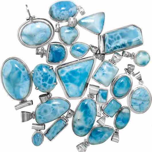 Larimar sterling silver pendants wholesale magic mountain gems larimar sterling silver pendants perfect for a sterling silver chain or choker wholesale aloadofball Image collections