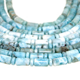 Larimar Capsule and Rondelle Cut Bead Strands - wholesale. Each strand has 29 Capsule cut beads (9x 6 mm)  and 28 Rondelle cut beads (3 x 6mm).