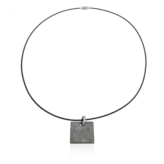 Gibeon Meteorite Square Pendant on a 20-inch Jewelry Wire Choker