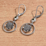 Meteorite Earrings With Twisted Wire Halo and Russian Diopside Accents