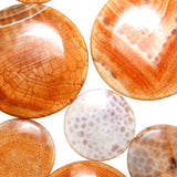 Orange Cracked Agate Flat Circle Beads - Wholesale