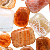 Orange Cracked Agate Flat Rectangle Beads-Wholesale