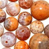 Orange Cracked Agate Round Beads-Wholesale