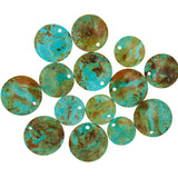 Patagonia Turquoise Flat Circle Beads with 3mm Front Top-drilled Hole