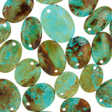 Patagonia Turquoise Flat Oval Beads with 3mm Front Top-drilled Hole