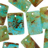 Patagonia Turquoise Flat Rectangle Beads with 3mm Front Top-drilled Hole