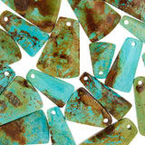 Patagonia Turquoise Flat Trapezoid Beads with 3mm Front Top-drilled Hole
